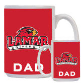 Dad Full Color White Mug 15oz-Lamar University w/Cardinal Head
