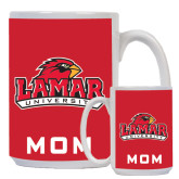 Mom Full Color White Mug 15oz-Lamar University w/Cardinal Head