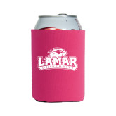 Collapsible Hot Pink Can Holder-Lamar University w/Cardinal Head