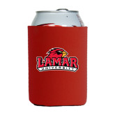 Collapsible Red Can Holder-Lamar University w/Cardinal Head