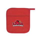 Quilted Canvas Red Pot Holder-Lamar University w/Cardinal Head