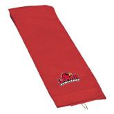Red Golf Towel-Lamar University w/Cardinal Head
