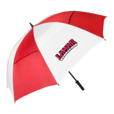 62 Inch Red/White Vented Umbrella-Wordmark