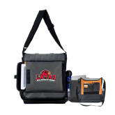 Impact Vertical Grey Computer Messenger Bag-Lamar University w/Cardinal Head, Personalized