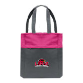 Charcoal/Tropical Pink Colorblock Tote-Primary Mark