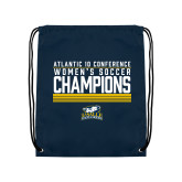 Navy Drawstring Backpack-2017 Womens Soccer Champions Stacked