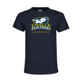 Youth Navy T Shirt-Lacrosse