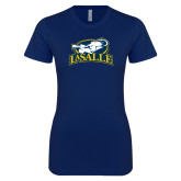 Next Level Ladies SoftStyle Junior Fitted Navy Tee-La Salle