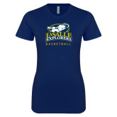 Next Level Ladies SoftStyle Junior Fitted Navy Tee-Basketball