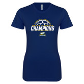 Next Level Ladies SoftStyle Junior Fitted Navy Tee-2017 Womens Soccer Champions