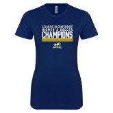 Next Level Ladies SoftStyle Junior Fitted Navy Tee-2017 Womens Soccer Champions Stacked
