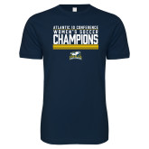 Next Level SoftStyle Navy T Shirt-2017 Womens Soccer Champions Stacked