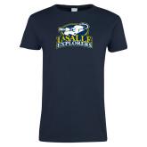 Ladies Navy T Shirt-Primary Mark Distressed
