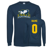Navy Long Sleeve T Shirt-Primary Mark, Personalized Name and #