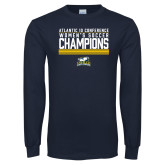 Navy Long Sleeve T Shirt-2017 Womens Soccer Champions Stacked