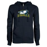 ENZA Ladies Navy Fleece Full Zip Hoodie-La Salle