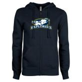 ENZA Ladies Navy Fleece Full Zip Hoodie-Explorers