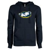 ENZA Ladies Navy Fleece Full Zip Hoodie-Mascot