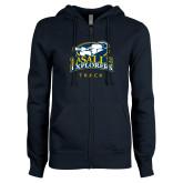 ENZA Ladies Navy Fleece Full Zip Hoodie-Track & Field