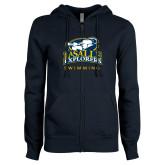 ENZA Ladies Navy Fleece Full Zip Hoodie-Swim & Dive