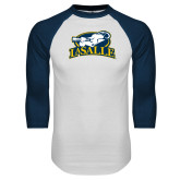 White/Navy Raglan Baseball T Shirt-La Salle