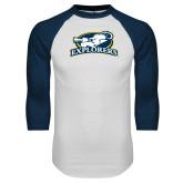 White/Navy Raglan Baseball T Shirt-Explorers
