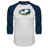 White/Navy Raglan Baseball T Shirt-Mascot
