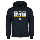 Navy Fleece Hoodie-2017 Womens Soccer Champions Stacked