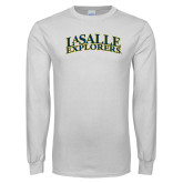 White Long Sleeve T Shirt-La Salle Explorers