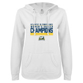 ENZA Ladies White V Notch Raw Edge Fleece Hoodie-2017 Womens Soccer Champions Stacked