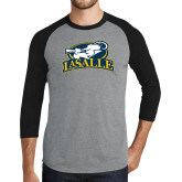 Grey/Black Tri Blend Baseball Raglan-La Salle