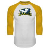 White/Gold Raglan Baseball T Shirt-La Salle