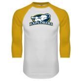 White/Gold Raglan Baseball T Shirt-Explorers