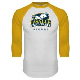 White/Gold Raglan Baseball T Shirt-Alumni