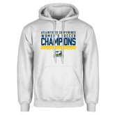 White Fleece Hoodie-2017 Womens Soccer Champions Stacked
