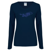 Ladies Navy Long Sleeve V Neck Tee-Mascot Dark Blue Glitter