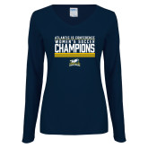 Ladies Navy Long Sleeve V Neck Tee-2017 Womens Soccer Champions Stacked