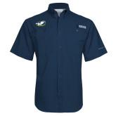 Columbia Tamiami Performance Navy Short Sleeve Shirt-Mascot