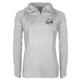 Ladies Sport Wick Stretch Full Zip White Jacket-Primary Mark