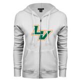ENZA Ladies White Fleece Full Zip Hoodie-LV