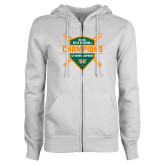 ENZA Ladies White Fleece Full Zip Hoodie-2018 SCIAC Baseball Champions