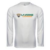 Syntrel Performance White Longsleeve Shirt-Horizontal Mark