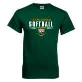 Dark Green T Shirt-Softball Design