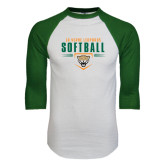 White/Dark Green Raglan Baseball T-Shirt-Softball Design
