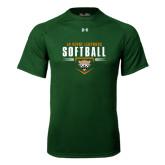 Under Armour Dark Green Tech Tee-Softball Design