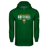 Under Armour Dark Green Performance Sweats Team Hoodie-Softball Design