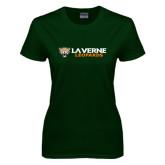 Ladies Dark Green T Shirt-Horizontal Mark