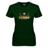 Ladies Dark Green T Shirt-Football Design