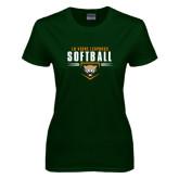 Ladies Dark Green T Shirt-Softball Design