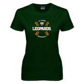 Ladies Dark Green T Shirt-Baseball Design
